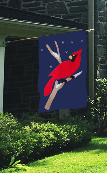Cardinal & Snowflakes Flag on Navy