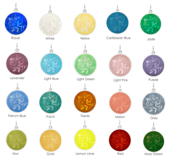 Silver St Christopher Medal - Choose Your Favorite Color for the Rim