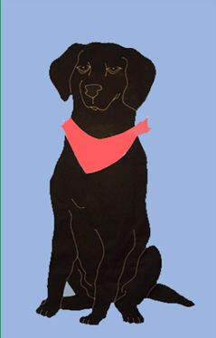 Black Lab Flag on Sky Blue