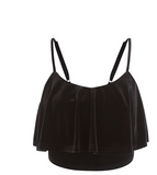 Ruffle Velvet Crop Top