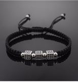 Square Macrame Bracelet with Micro Pave CZ Beads Braiding Bracelets for Men Luxury Jewerly