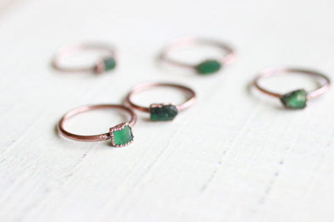 Raw Emerald Ring Copper Ring