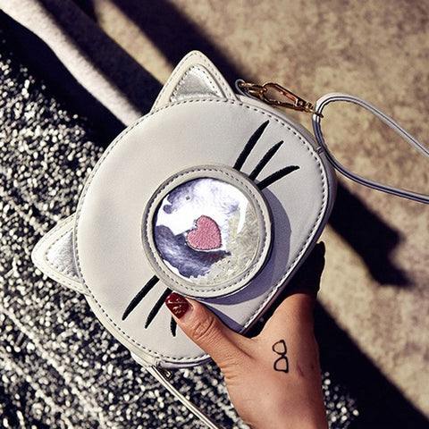 Cat PU Leather Corssbody Bags Girl