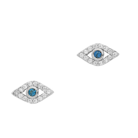 Crystal evil eye Studs