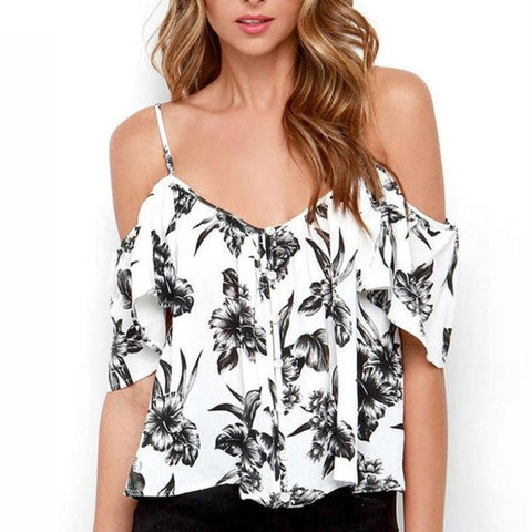 Ruffles Chiffon Off Shoulder