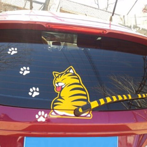 Cat Moving Tail Stickers wiper