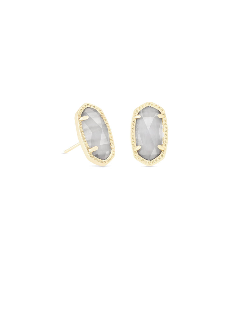 Ellie Gold Stud with Slate Cats Eye