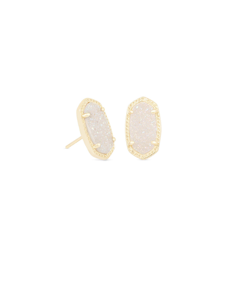 Ellie Stud Earring Gold with Iridescent Drusy