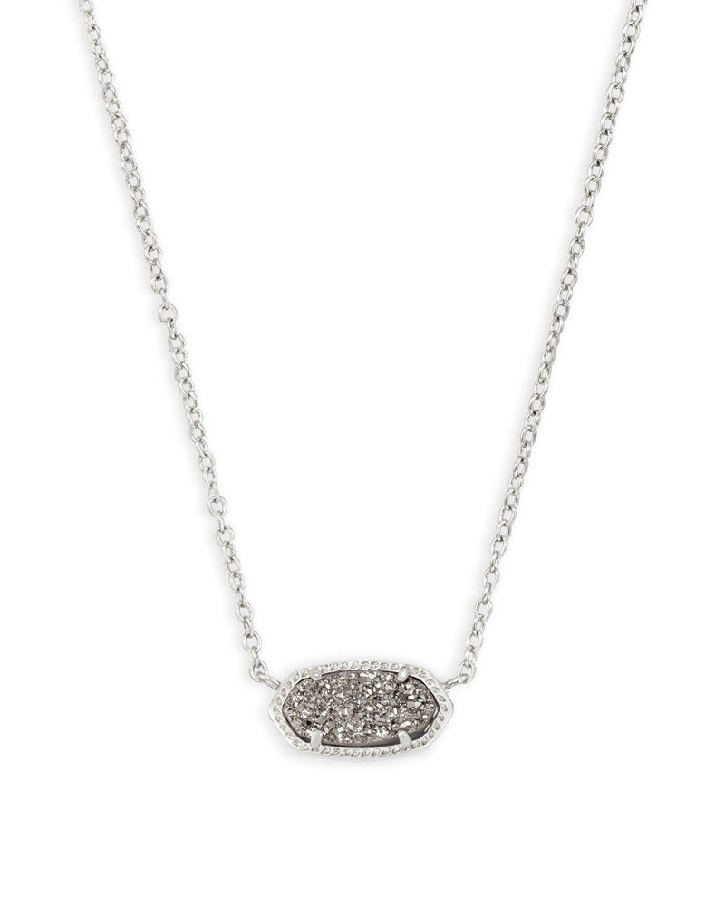 Elisa Pendant Necklace Silver with Platinum Drusy
