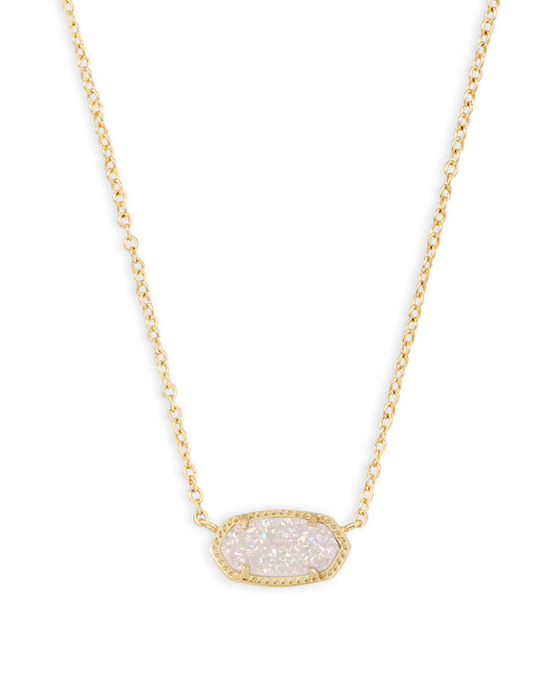 Elisa Pendant Necklace Gold with Iridescent Drusy