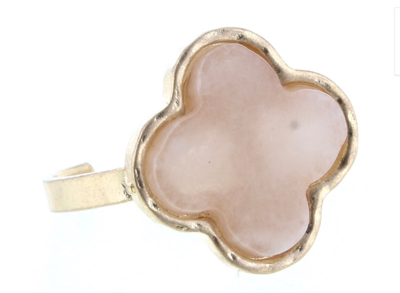 Blush Stone Clover Ring