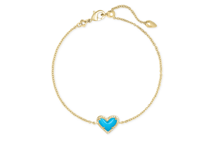 Ari Heart Gold Chain Bracelet In Turquoise