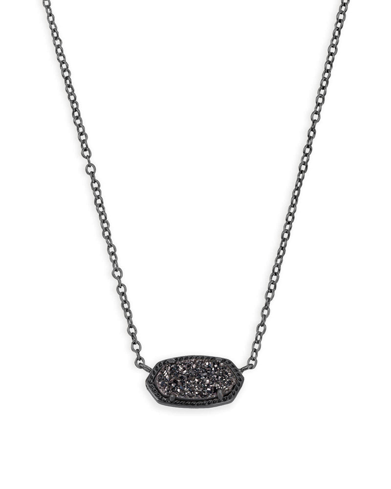 Elisa Pendant Gunmetal with Black Drusy