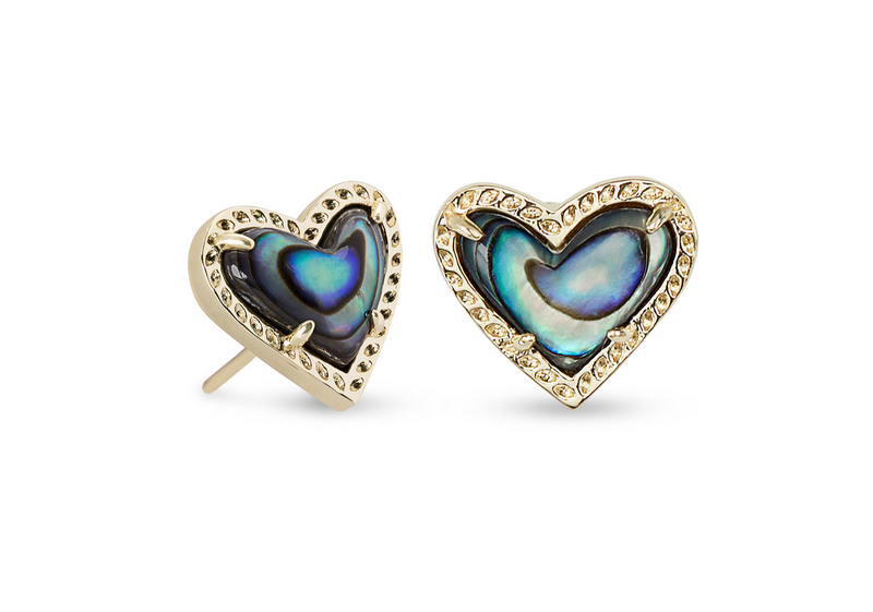 Ari Heart Gold Stud Earrings In Abalone Shell