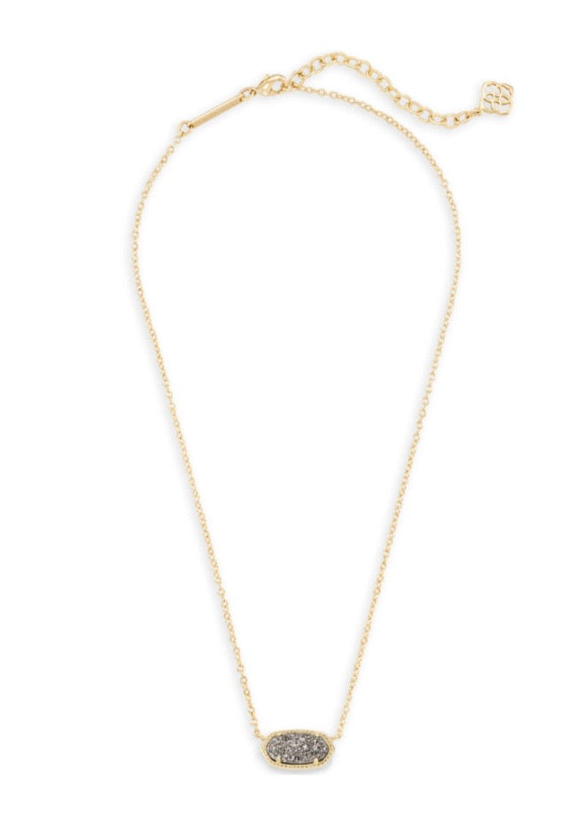 Elisa Necklace Gold with Platinum Drusy