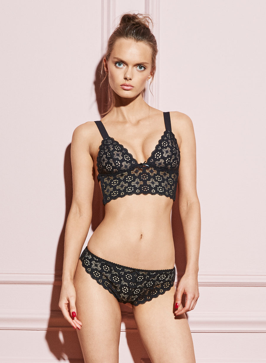 Crochet Lace Longline Triangle Bra