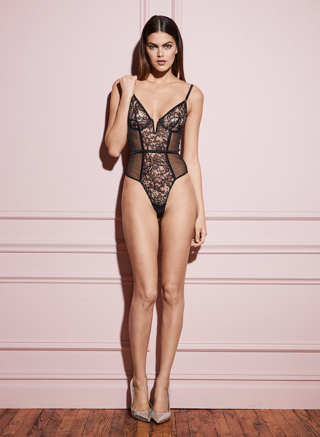 Flocked Lace Bodysuit