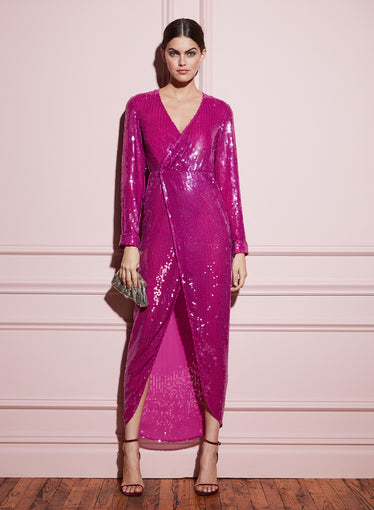 Long Sequin Wrap Dress