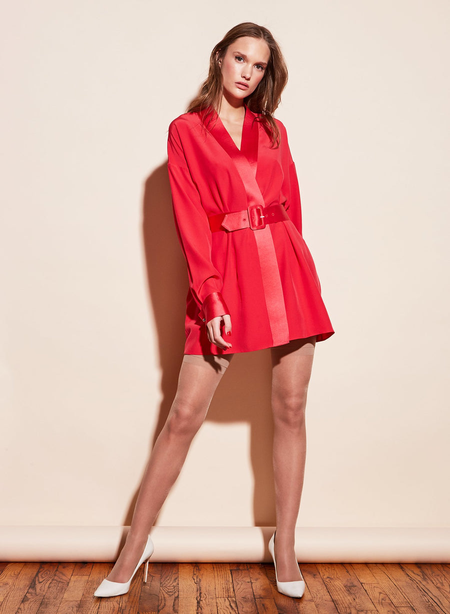 Cufflink Mini Wrap Dress