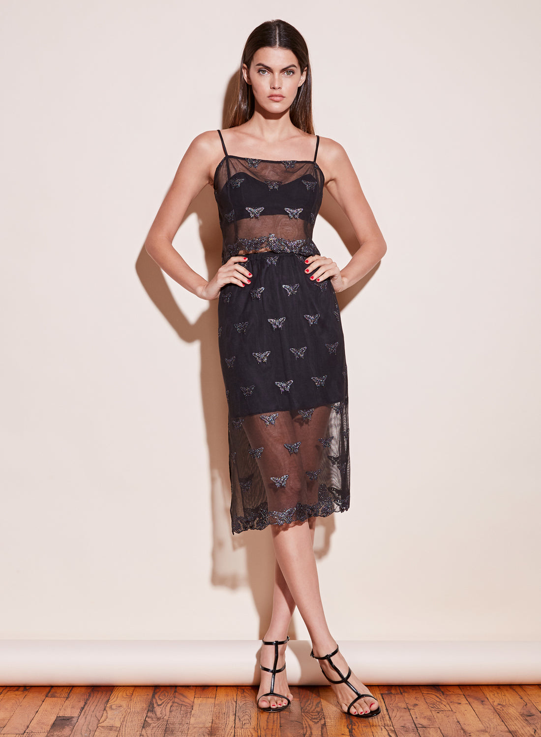 Butterfly Embroidered Skirt with Slip