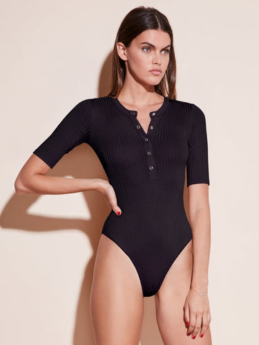 Ribbed Knit Henley Bodysuit