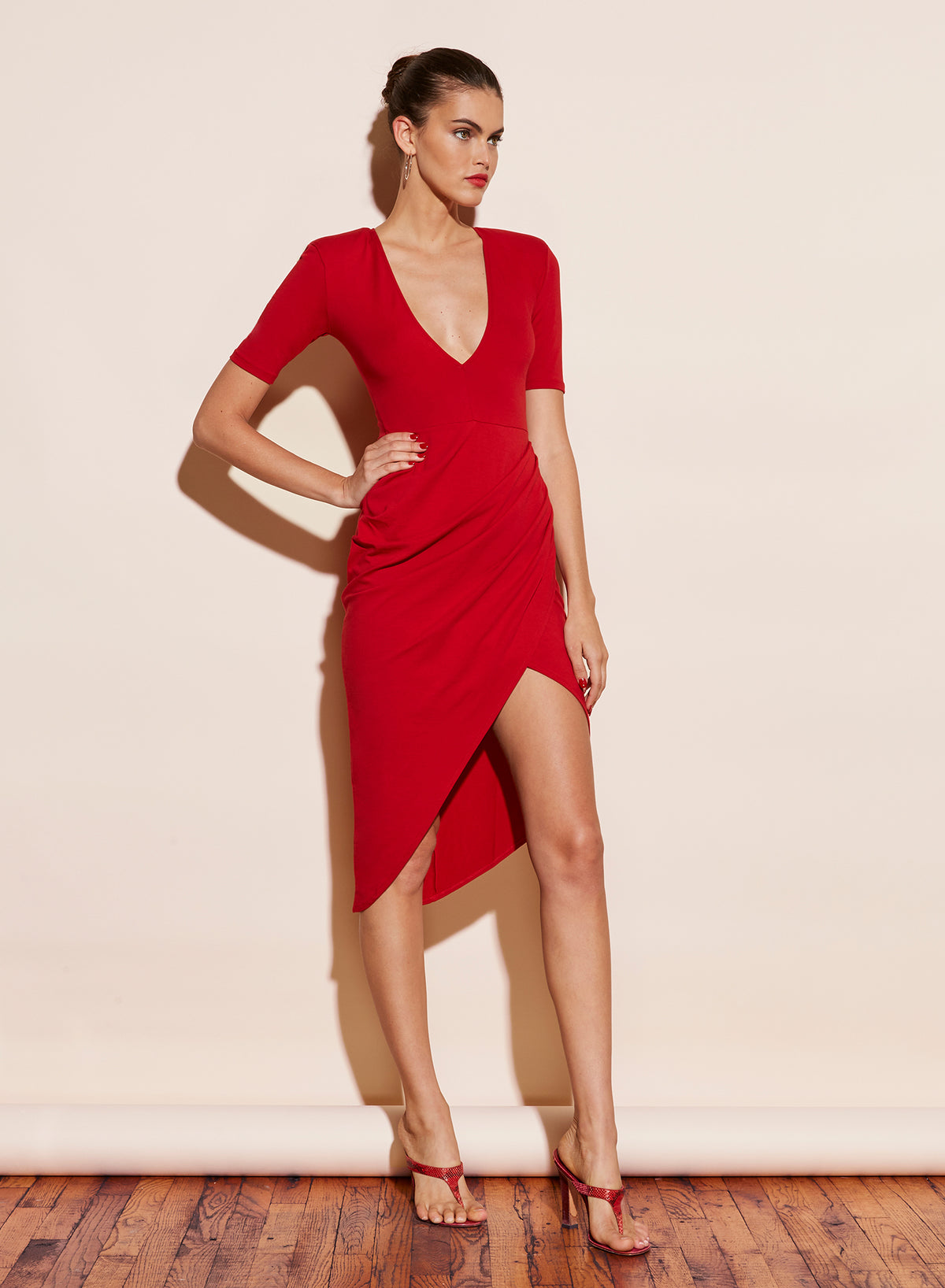 Deep V Jersey Draped Dress