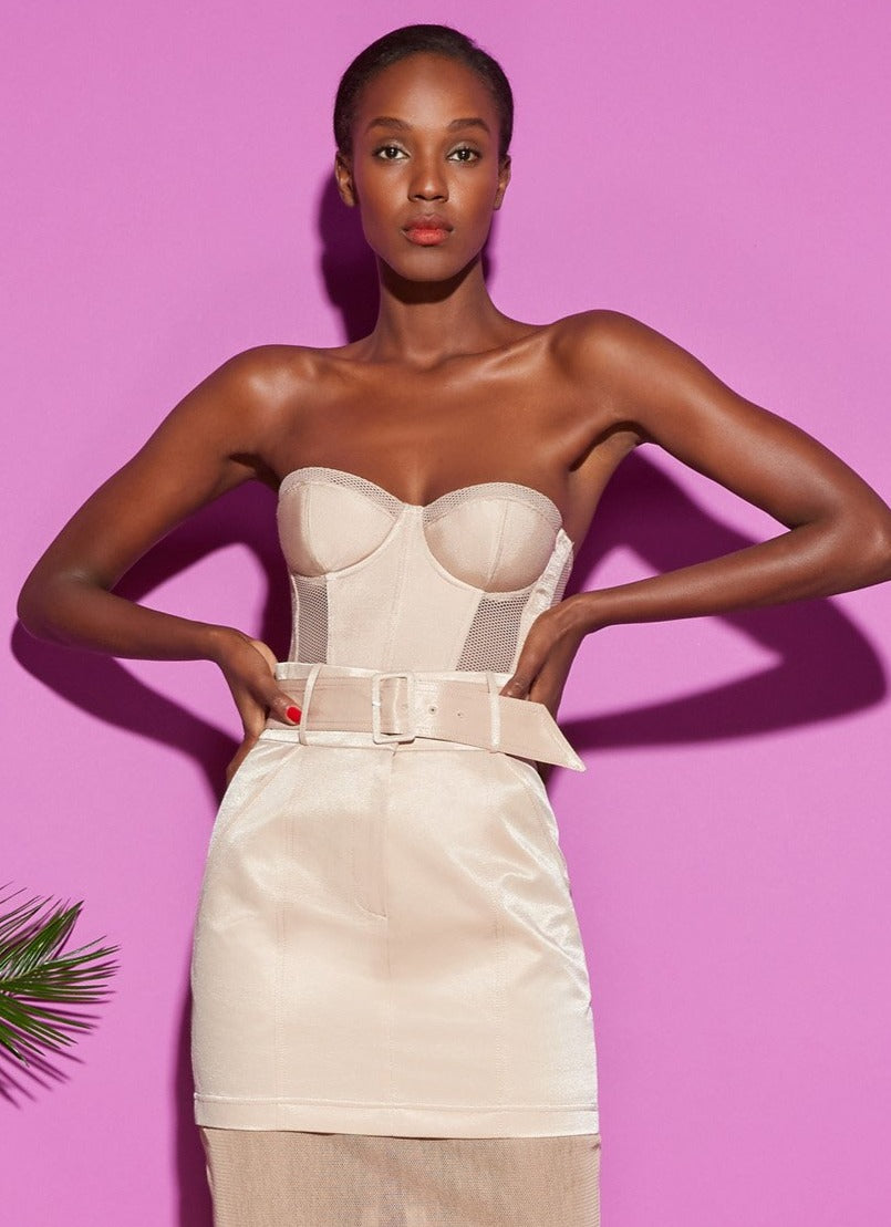 Twill & Mesh Strapless Bustier Top