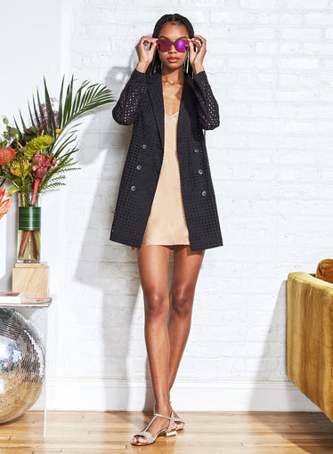 Eyelet Blazer Dress with Slip