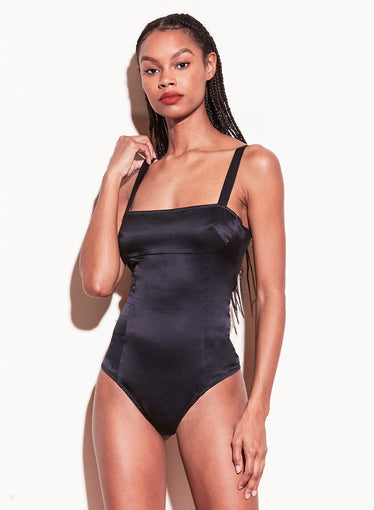 Satin Ponte Paneled Bodysuit