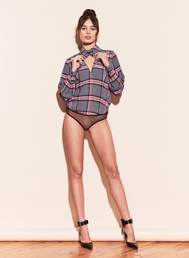 Long Sleeve Neck Tie Bodysuit