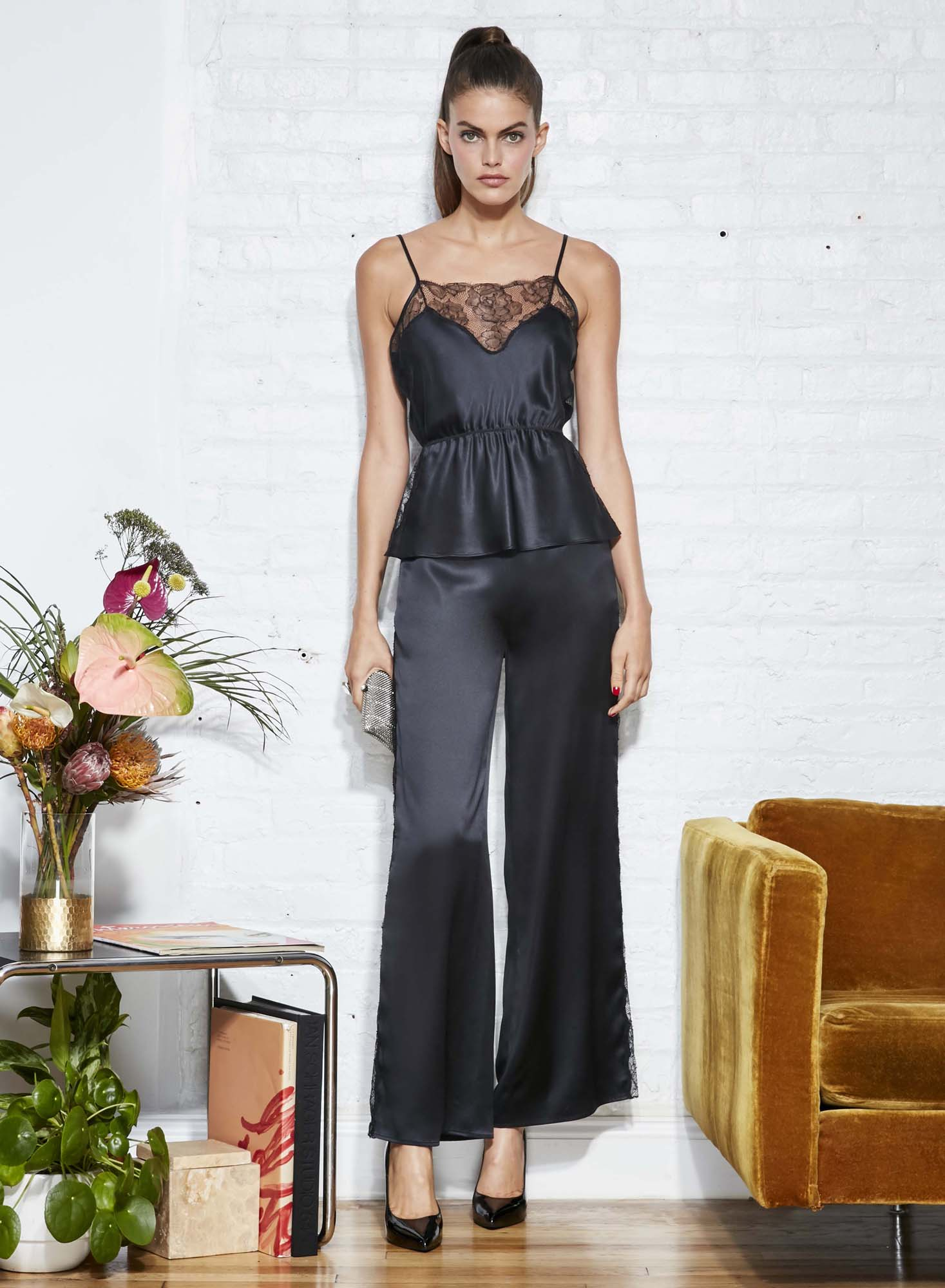 Rose Lace Wide Leg Pant