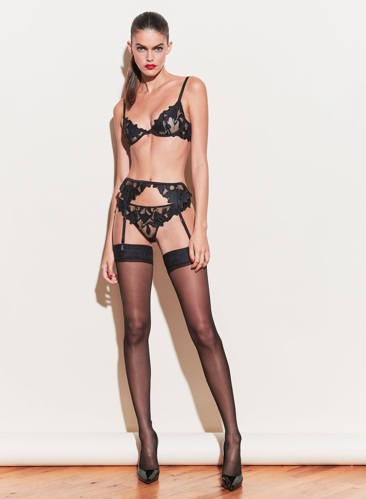Lily Embroidery Garter Belt