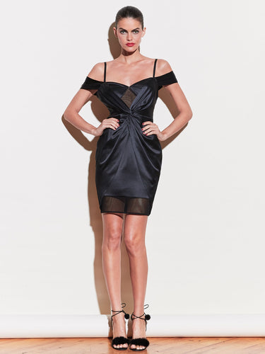 Silk & Mesh Draped Dress