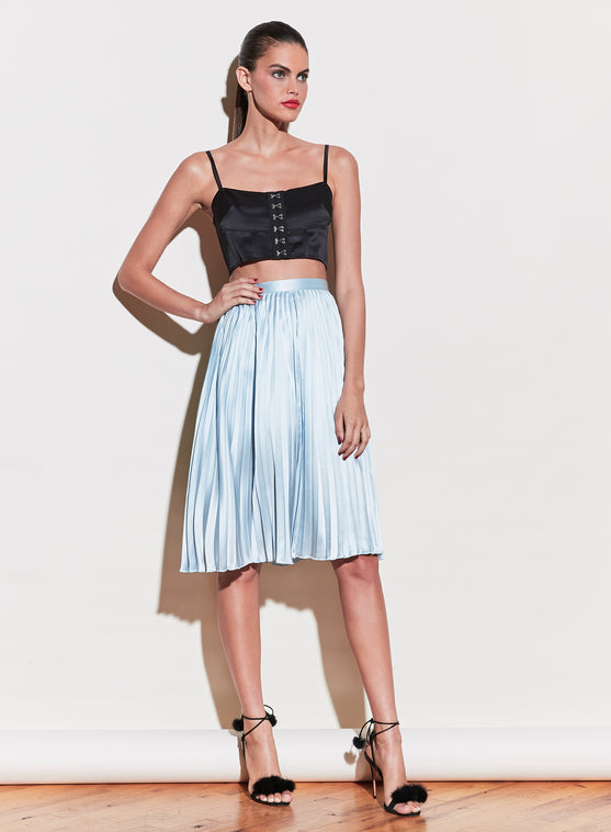 Pleated Lace Insert Skirt