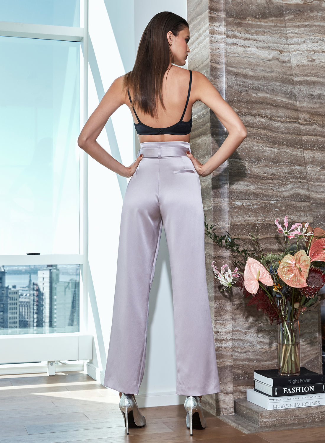 Silk Piping Belted Pants