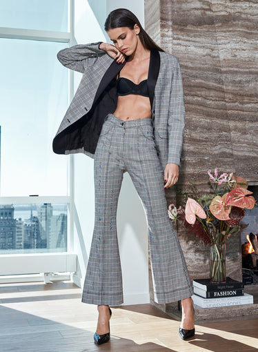 Plaid Check Flare Pant