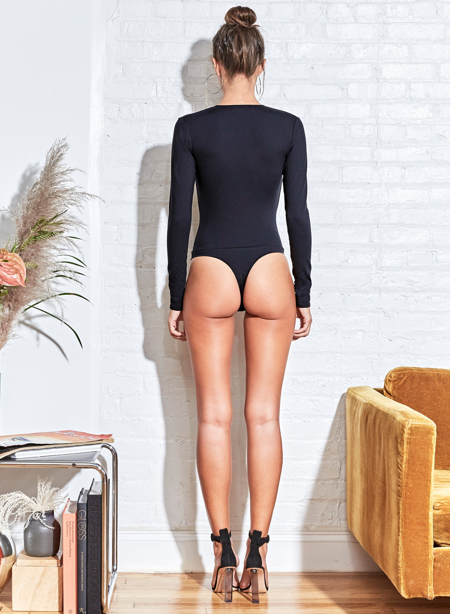 Long Sleeve Deep-V Bodysuit