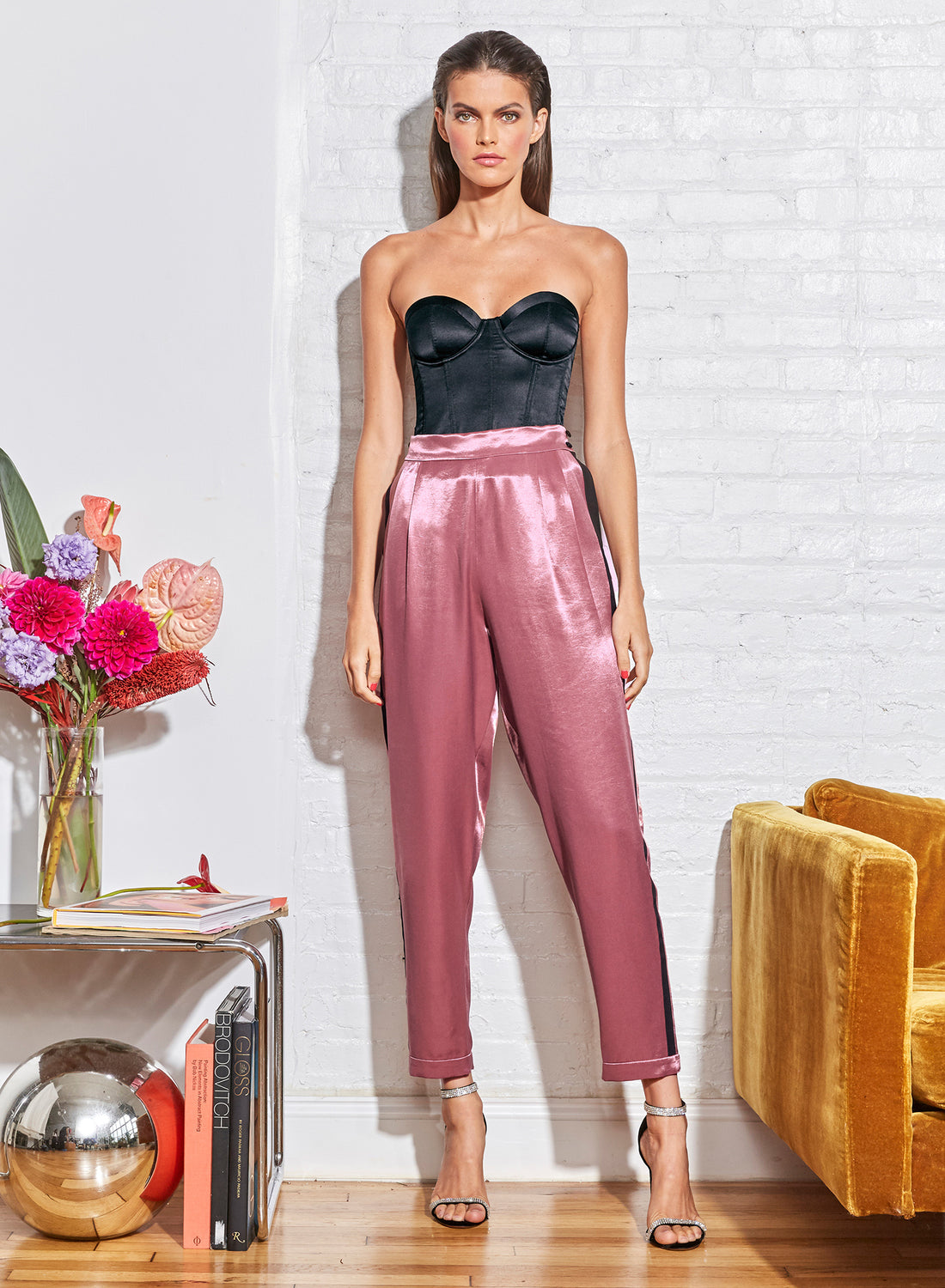 Rosewood Luster Tuxedo Pants