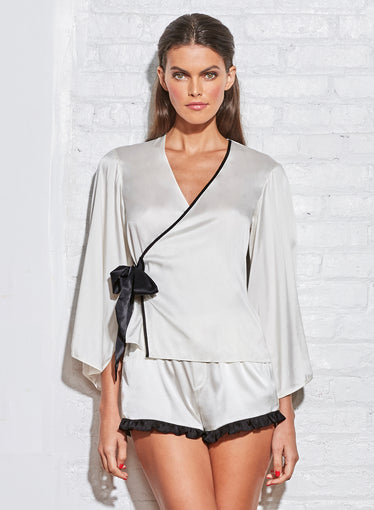 Washable Silk Wrap PJ Top