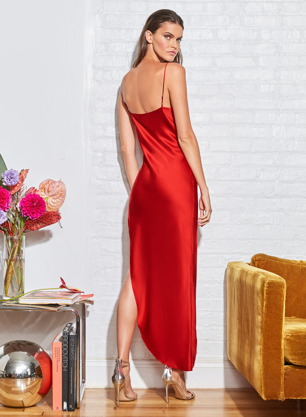 Cowl Neck Slip Dress with High Slit