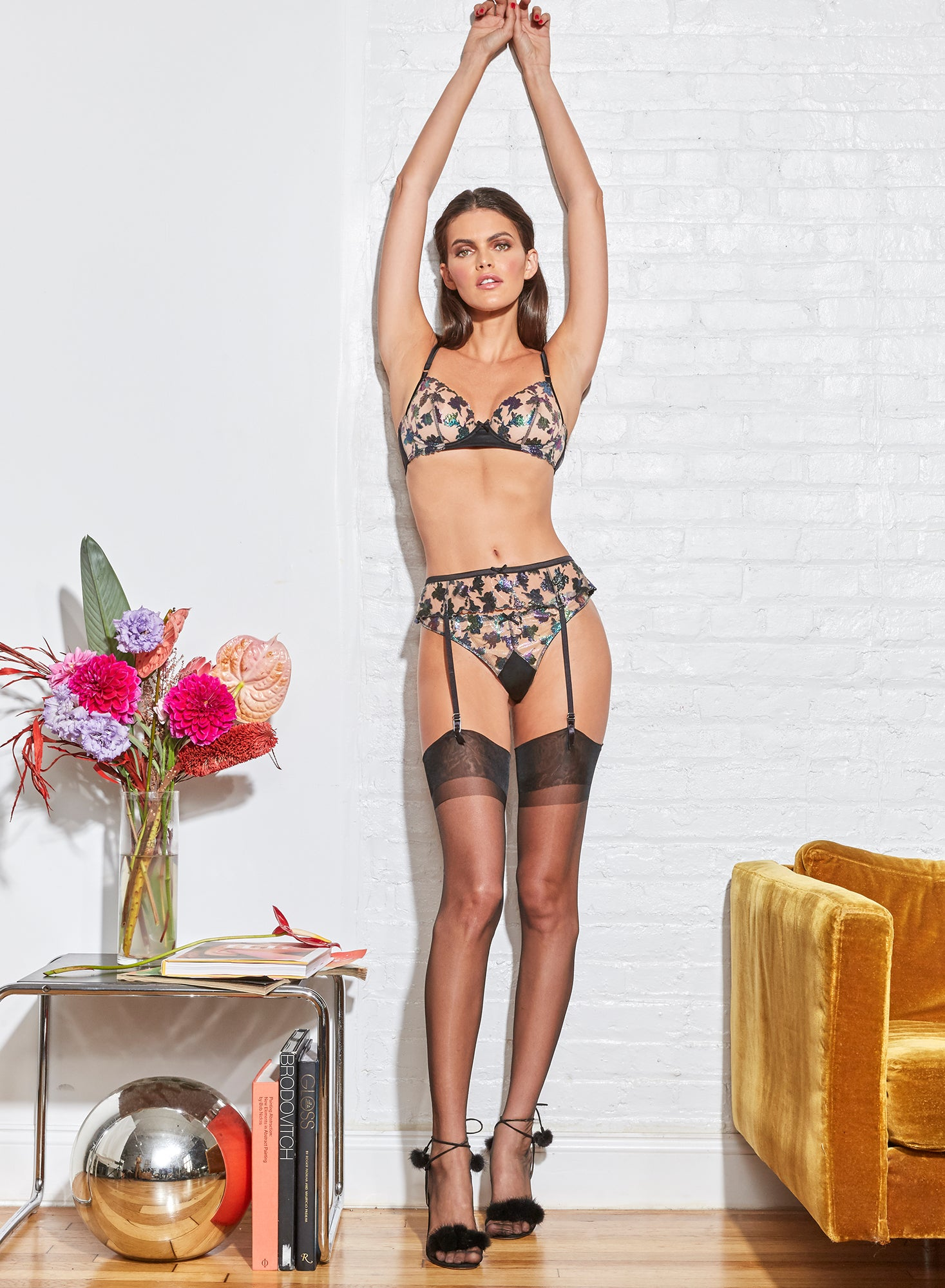 Prisma Embroidery Garter Belt