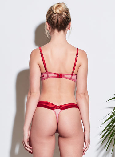 Bow Embroidery Thong