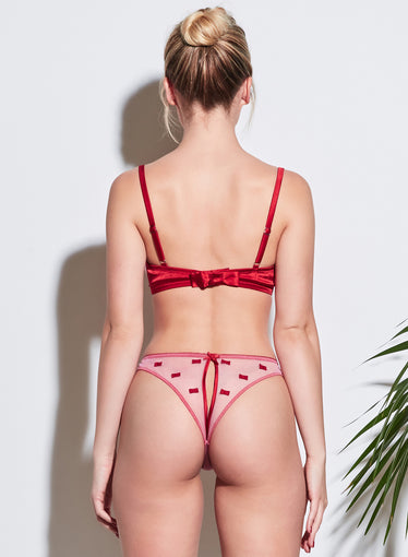 Bow Embroidery Peekaboo Ouvert Panty