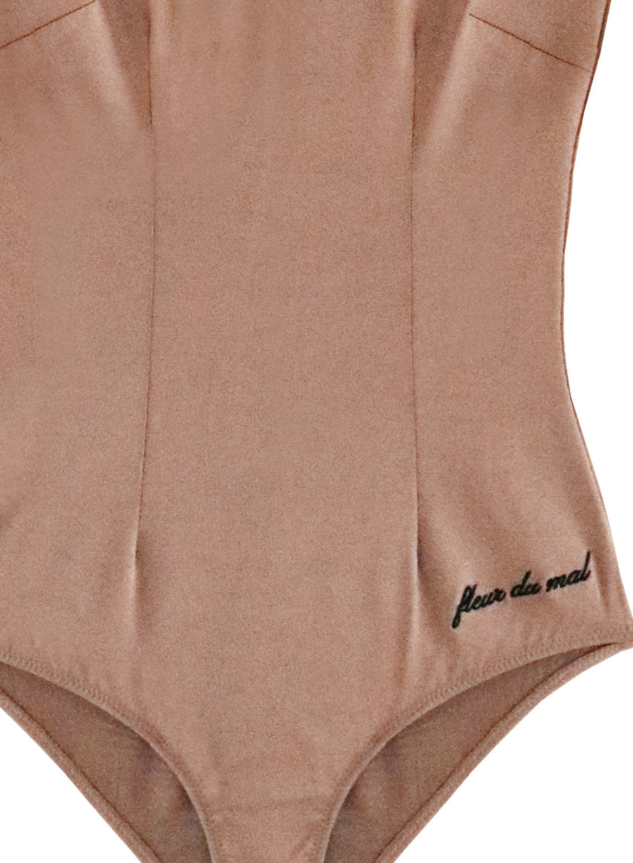 Long Sleeve Bodysuit with Logo Embroidery