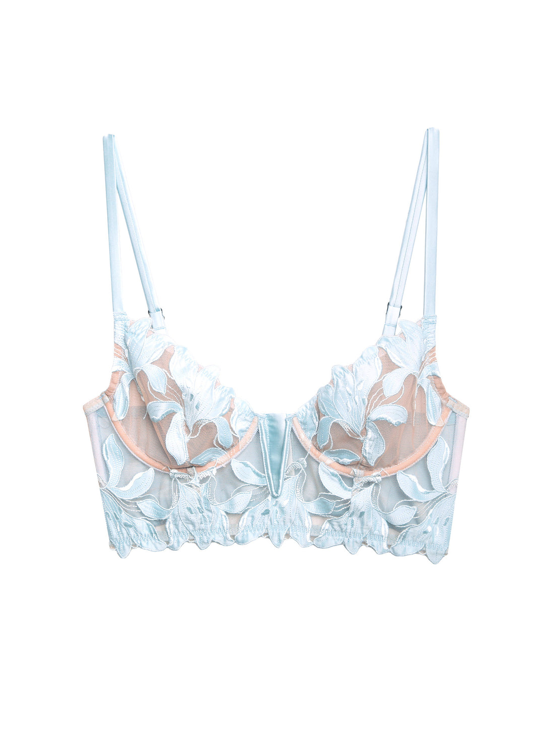 Fuller Cup Lily Embroidery Long Lined Demi Bra