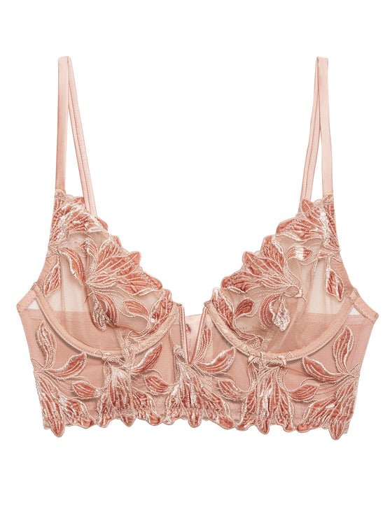 Velvet Lily Embroidery Long Lined Demi Bra