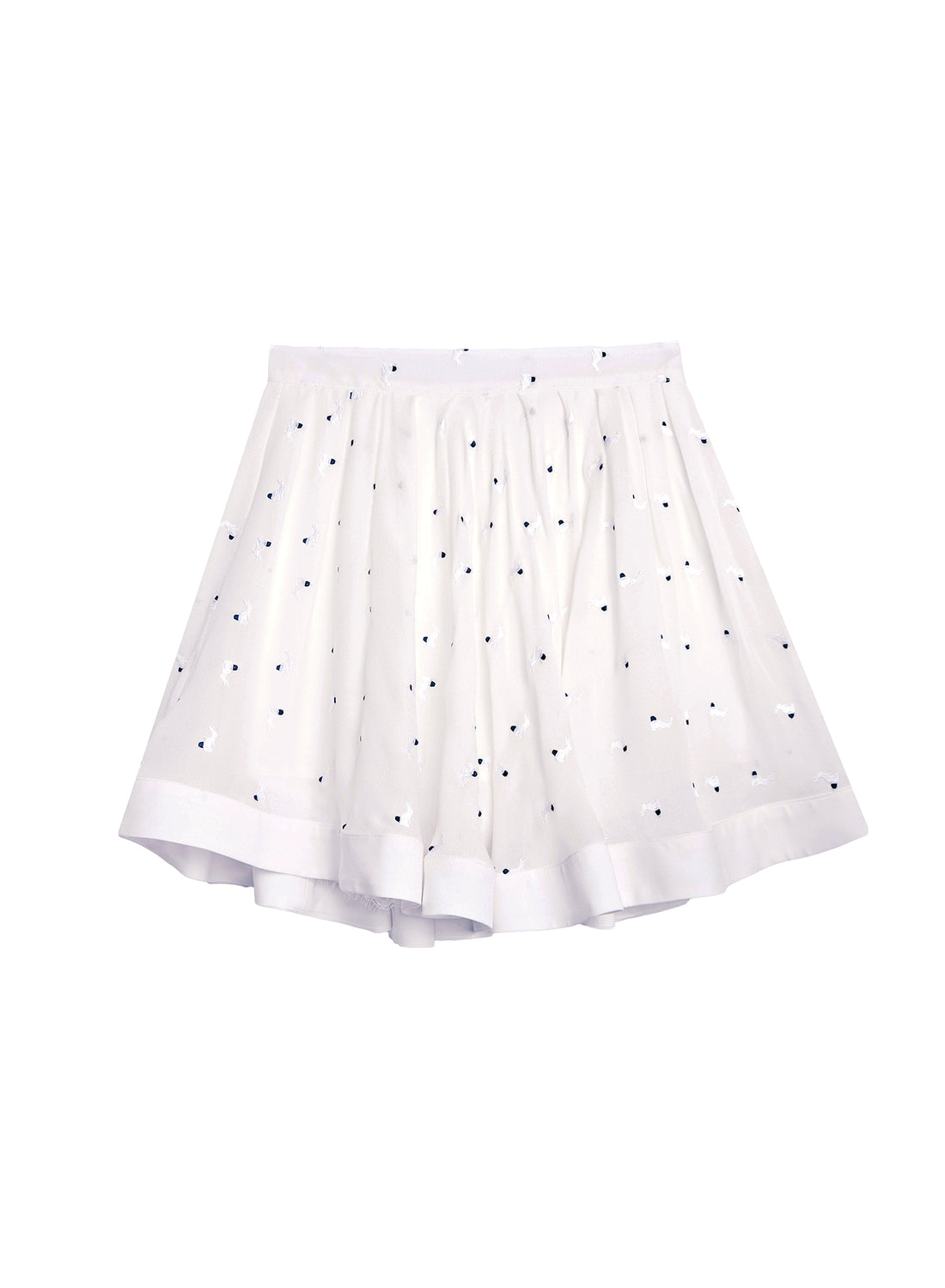 Embroidered Silk Mini Skirt