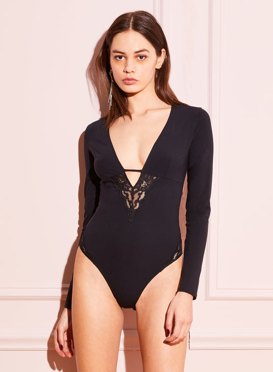 Chateau Lace Trim Long Sleeve V-Neck Bodysuit