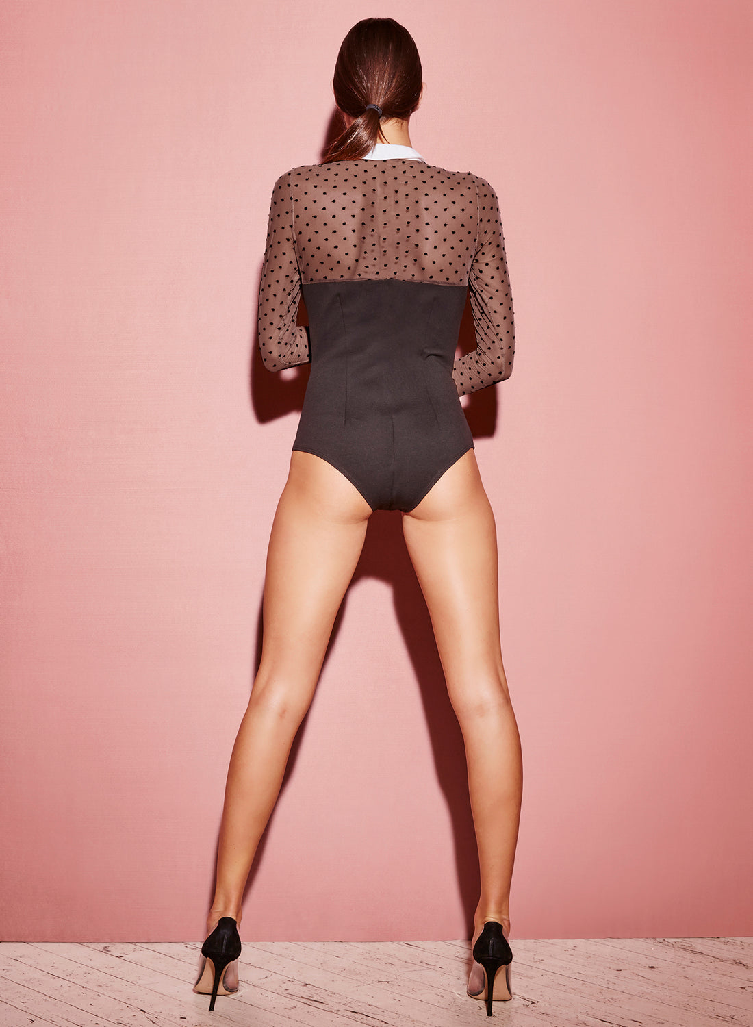 Collared Bodysuit with Dotted Tulle