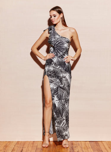 One Shoulder Tie Gown